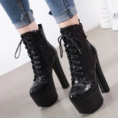 Anran - Platform Chunky-Heel Lace-Up Ankle Boots
