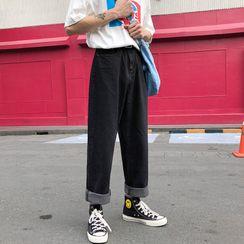 YERGO - Washed Straight-Leg Jeans