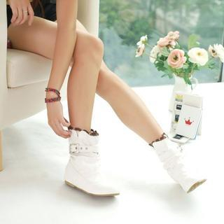 Shoes Galore - Knitted-Scallop Trim Buckled Short Boots