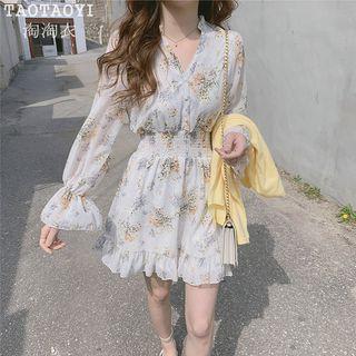 Leoom - Floral Print Long-Sleeve Chiffon Dress