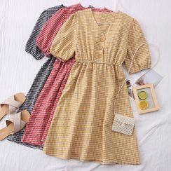 Babique - Checker V-Neck Midi Dress