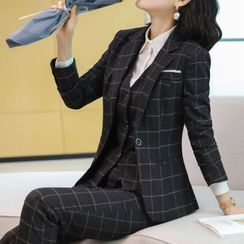 Princess Min - Plaid Blazer / Dress Pants / Mini Skirt / Set