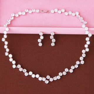 Neostar - Set: Wedding Rhinestone Necklace + Earrings