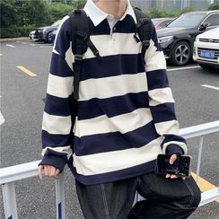 EOW - Striped Long-Sleeve Polo Shirt