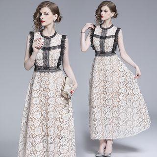 Yonna - Sleeveless Contrast Trim Lace A-Line Maxi Dress