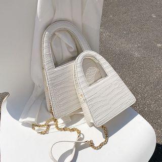 Skyglow - Croc Grain Top Handle Crossbody Bag