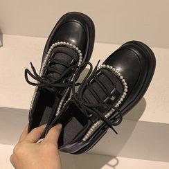 Frivole(フリボーレ) - Faux Leather Platform Lace-Up Shoes