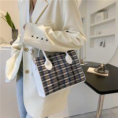 mizandrus - Tweed Square Tote Bag with Shoulder Strap