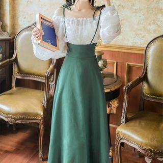 Glaypio - Set: Long-Sleeve Blouse + Midi A-Line Suspender Skirt