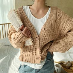 NANING9 - V-Neck Cable-Knit Cardigan