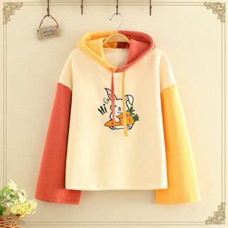 Kawaii Fairyland - Rabbit Color-Block Flare Sleeve Hoodie With Fleece