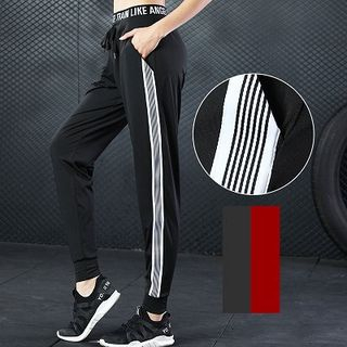 Wheatfield - Drawstring Waist Striped Trim Sweatpants