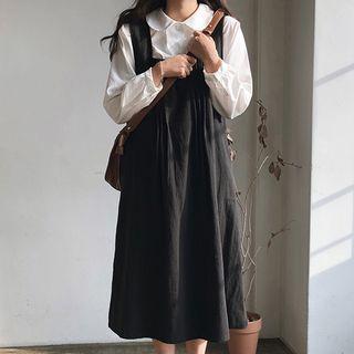 Dute - Long-Sleeve Plain Blouse / Midi Pinafore Dress