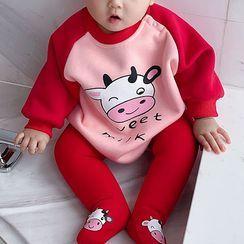 MOM Kiss - Kids Cow Print Long-Sleeve Raglan Bodysuit Top