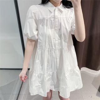 Zazadoll - Puff-Sleeve Mini Shirtdress