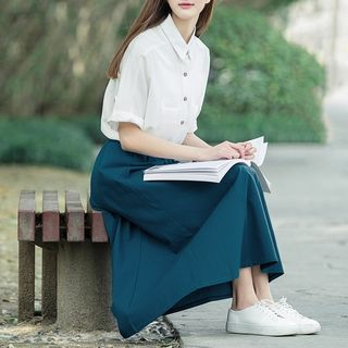 Sulis - Plain Shirt / High Waist Midi A-Line Skirt / Set