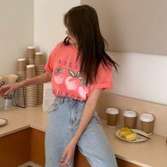 Windcatcher(ウィンドキャッチャー) - Short-Sleeve Peach Print T-Shirt