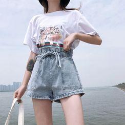 Maple Breeze - 花苞腰水洗牛仔短裤
