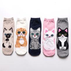 electroyinyang - 五件套裝: 動物印花船襪