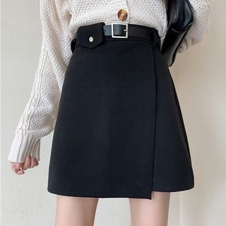 Yupina - Set: Mini A-Line Skirt + Belt