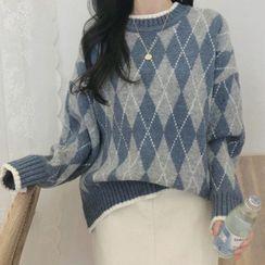 JOWI - 菱格印花毛衣