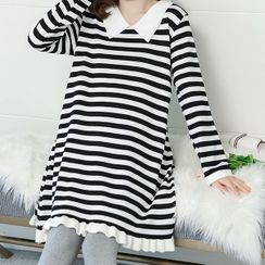 EZ Life(イージーライフ) - Maternity Long-Sleeve Striped Mini A-Line Knit Dress