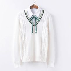 Candy House - V-Neck Cable-Knit Sweater