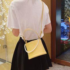 Diamante(ディアマンテ) - Croc Grain Faux Leather Cylinder Bucket Bag