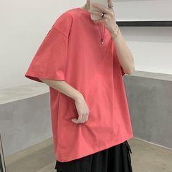 JUN.LEE - Plain Oversized Short-Sleeve Tee