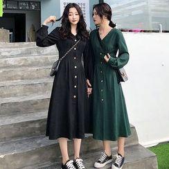Sugar Town - Long-Sleeve Midi A-Line Dress