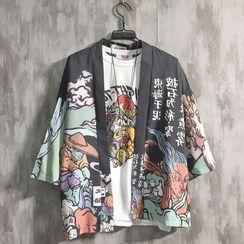 Odin King - Printed Elbow-Sleeve Kimono Jacket