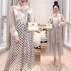 Rosewind - Set: Tie-Neck Blouse + Dotted Midi A-Line Skirt