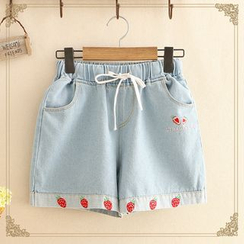 Kawaii Fairyland - Strawberry Embroidered Denim Shorts