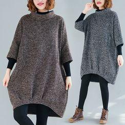 Goldeon - Elbow-Sleeve Mock-Neck Knit Shift Dress