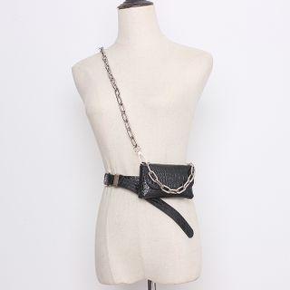 BLOCKHOUSE - 链条仿皮腰包