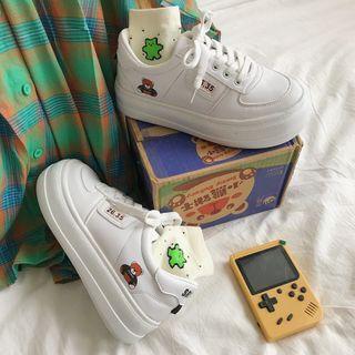 STEPUP - Platform Cartoon Print Lace Up Sneakers