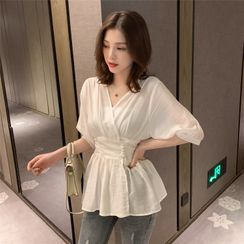 INEN - Elbow-Sleeve V-Neck Sheer Peplum Blouse