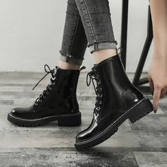 Eloise - Faux Leather Lace-Up Short Boots