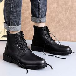 MARTUCCI - Genuine Leather Lace-Up Short Boots