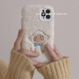 Gadget City - 刺繡棉羊抓毛手機殼 - iPhone 11 Pro Max / 11 Pro / 11 / SE / XS Max / XS / XR / X / SE 2 / 8 / 8 Plus / 7 / 7 Plus