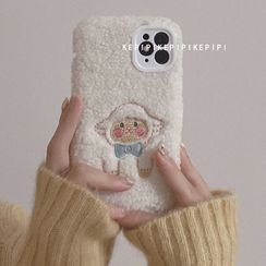 Gadget City - Embroidered Sheep Fleece Phone Case - iPhone 11 Pro Max / 11 Pro / 11 / SE / XS Max / XS / XR / X / SE 2 / 8 / 8 Plus / 7 / 7 Plus