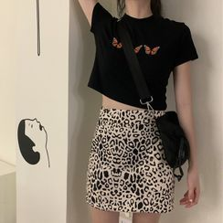 Smiler - Leopard Print Mini Skirt / Butterfly Embroidery T-Shirt