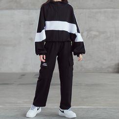 Hobab - Kids Lettering Two-Tone Pullover / Flap-Pocket Sweatpants
