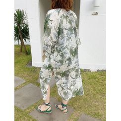 J-ANN - Open-Front Flower-Pattern Cover-Up Cardigan