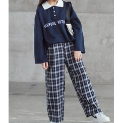 Hobab - 小童字母刺绣长袖马球衫 / 格子裤