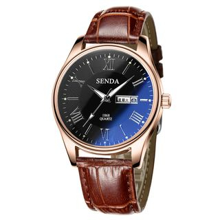 SENDA - Faux Leather Strap Watch