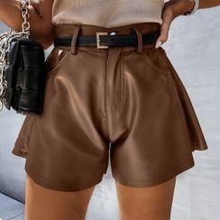 Eunostos - High-Waist Faux Leather Wide-Leg Shorts