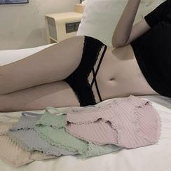 ever after - 2条装舒适无痕性感镂空蕾丝边系带内裤