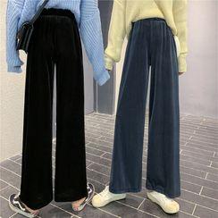 OGAWA - High-Waist Velvet Wide-Leg Pants