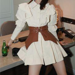 MISHI CLUB - Frill Trim A-Line Mini Shirtdress / Waist Belt